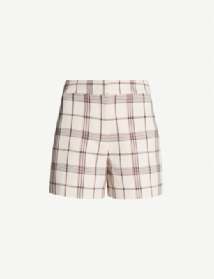 MAJE Izore check high-rise shorts
