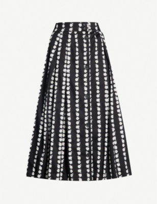MAJE Floral-print pleated stretch-cotton skirt