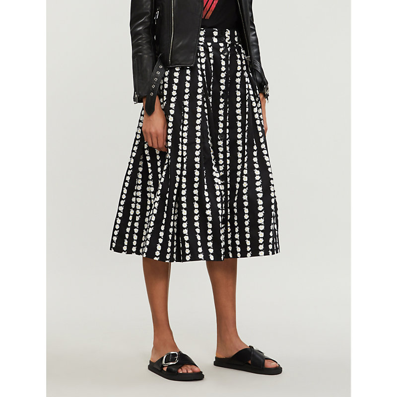 Maje Skirts FLORAL-PRINT PLEATED STRETCH-COTTON SKIRT