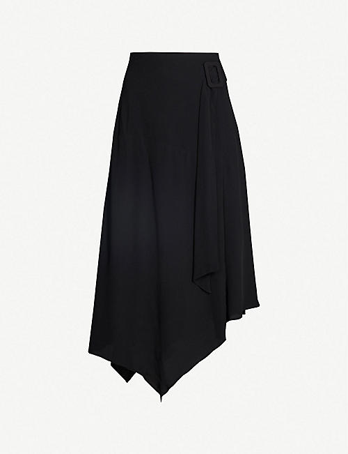 3f565179b MAJE Jiller asymmetric crepe midi skirt
