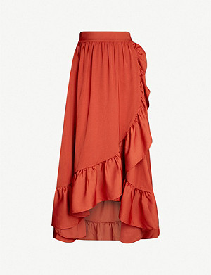 MAJE Johno asymmetric satin skirt