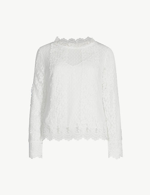 MAJE Levanta long-sleeved lace-embroidered top