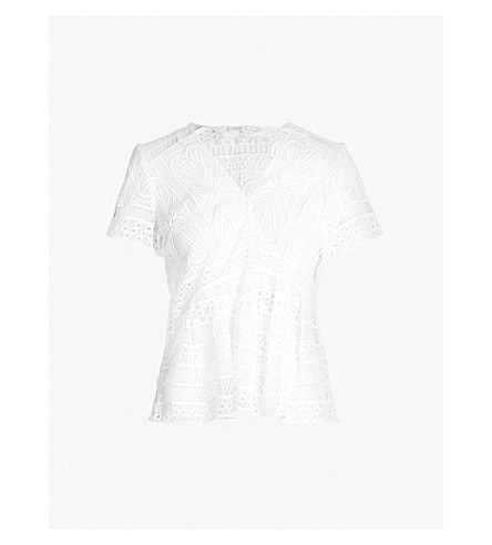 9963c0958ed4a8 MAJE Short-sleeved guipure lace top (Off+white
