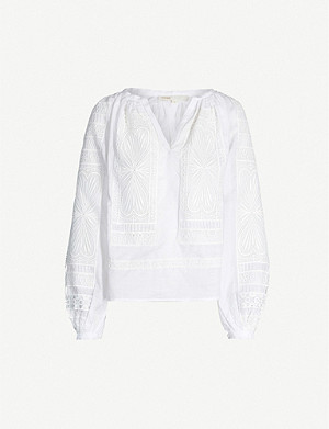 MAJE Lippy guipure-lace trimmed linen top