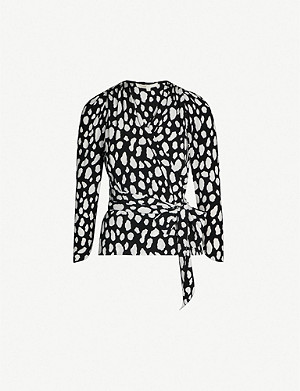 MAJE Graphic-print wrap crepe top