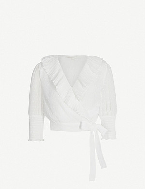 MAJE Heart Hidden frill-trimmed plumeti wrap-over blouse