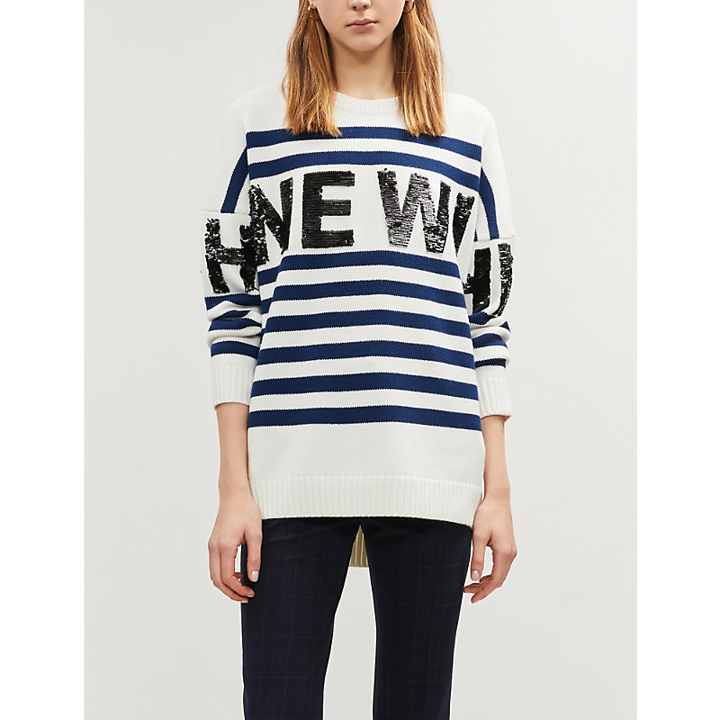 Maje Sweaters SWEATER-LONG EMBROIDERED SWEATER