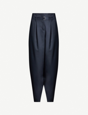 MAJE High-rise tapered crepe trousers