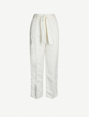 MAJE Palizane pleated stretch-linen trousers