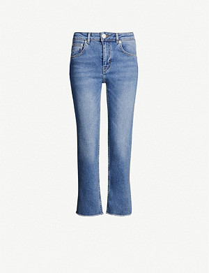 MAJE Faded frayed-hem straight high-rise jeans