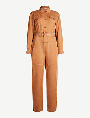 MAJE Paromane belted lyocell and linen-blend jumpsuit