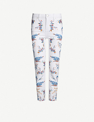MAJE Pia mid-rise floral-embroidered skinny jeans