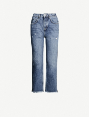 MAJE Zipped frayed-hem straight high-rise jeans