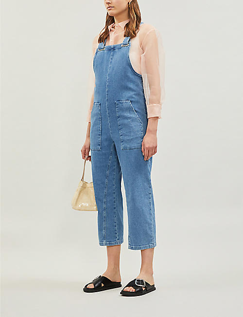 MAJE Pimbo cropped straight-leg denim jumpsuit