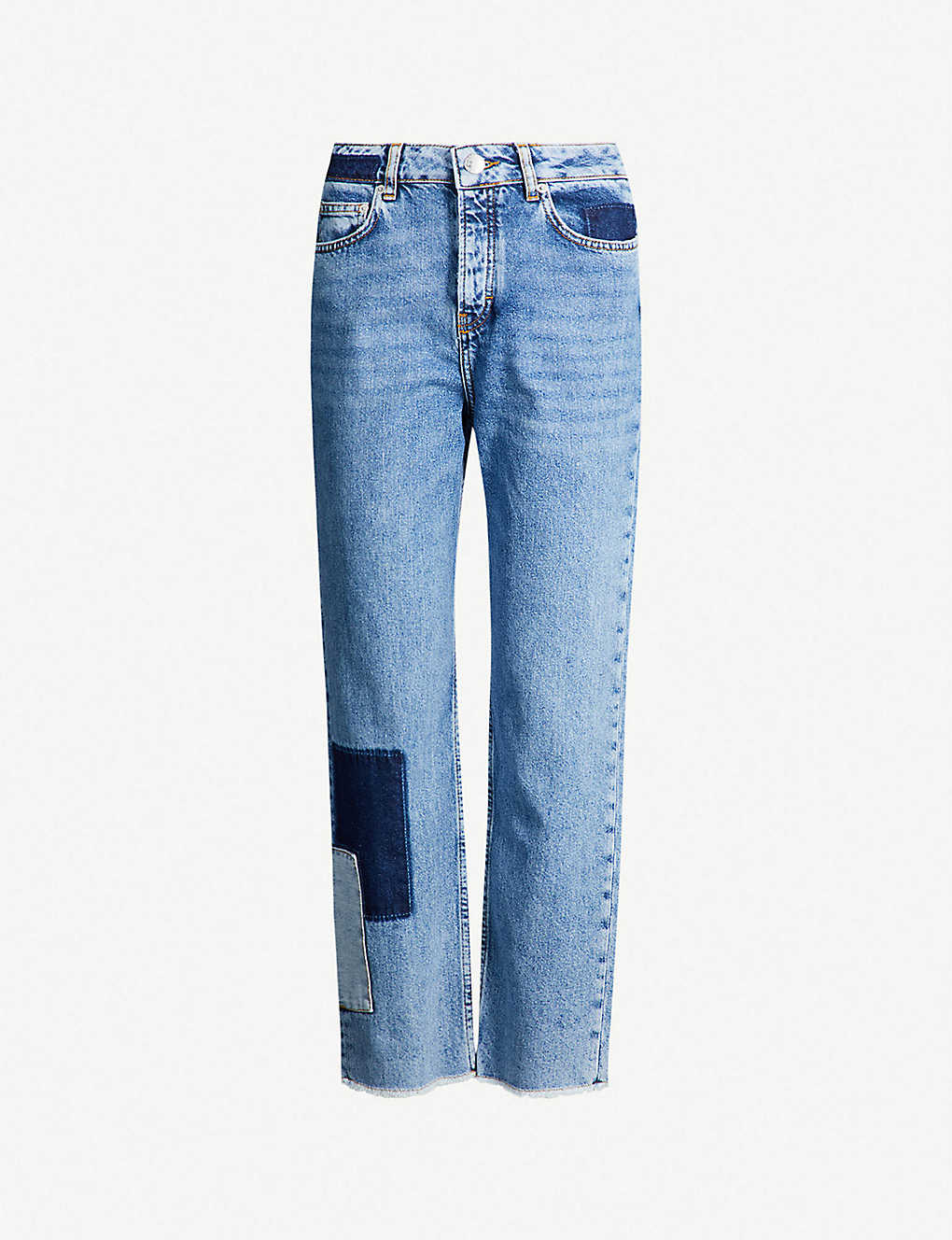 MAJE: Piros patchwork high-rise faded straight-leg jeans
