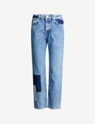MAJE Piros patchwork high-rise faded straight-leg jeans