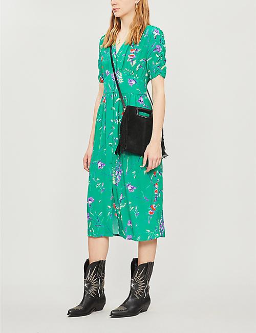 27de9924082 MAJE Rankol floral-print V-neck short-sleeved crepe dress