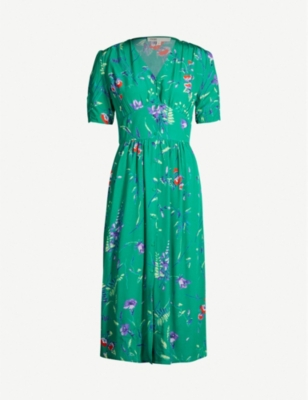 MAJE Rankol floral-print V-neck short-sleeved crepe dress