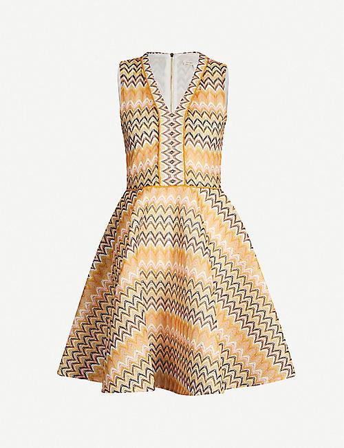 602da8c46ad MAJE Reinetta chevron-print sleeveless fit and flare guipure dress