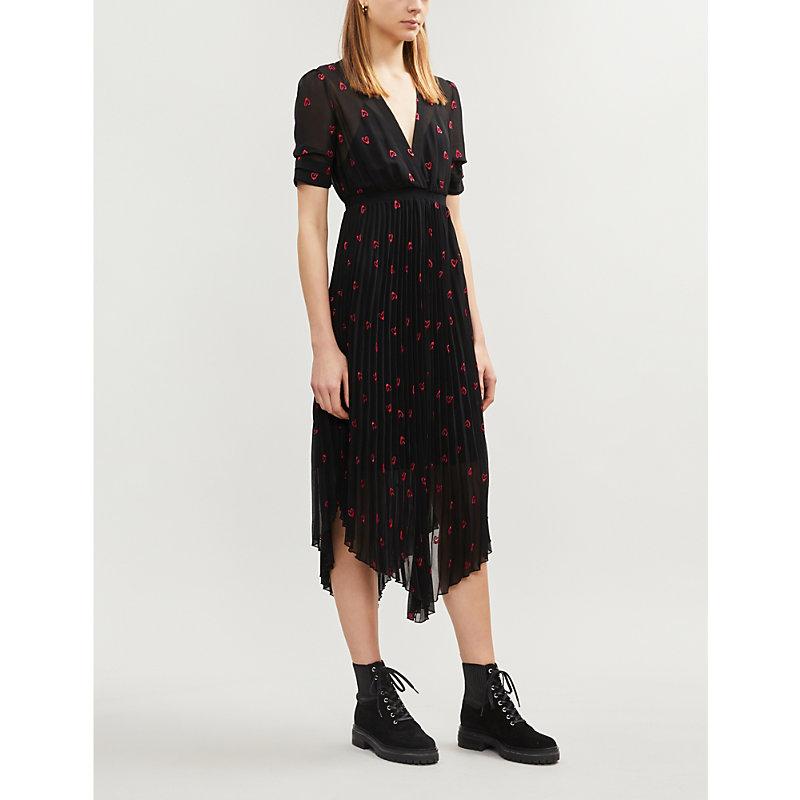 Maje Dresses RENGO V-NECK WOVEN MIDI DRESS