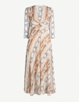 MAJE Repena snake-print crepe dress