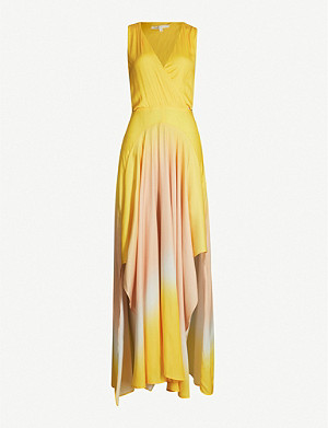 MAJE Resia tie-dye V-neck sleeveless satin maxi dress