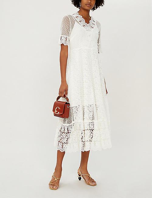 b23c11b7f3 MAJE Revanti V-neck lace midi dress