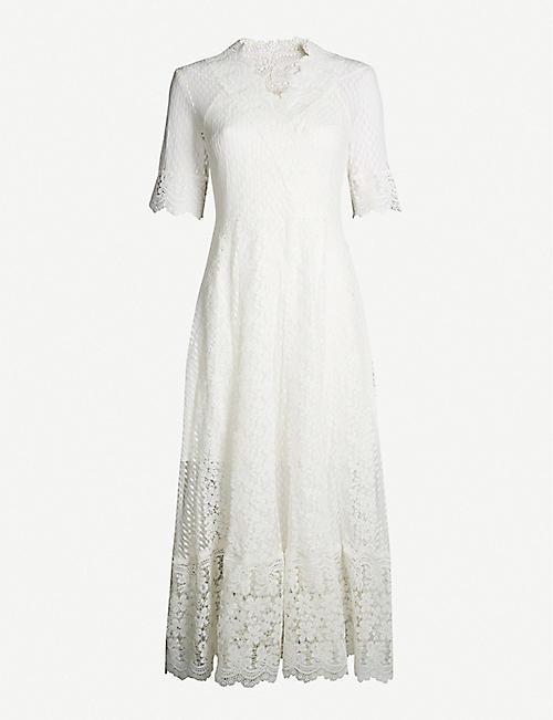 d4427bc687 MAJE Revanti V-neck lace midi dress