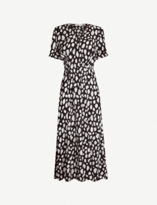 MAJE Graphic-print split crepe dress