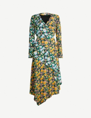 MAJE Roen floral-print long-sleeved woven wrap dress