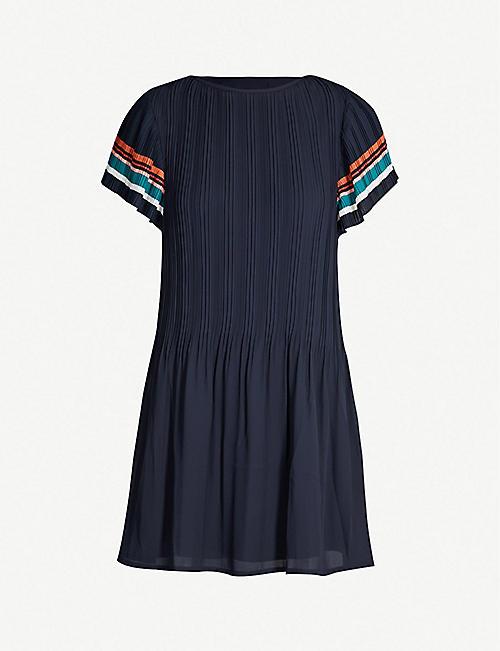 1665ce028 MAJE Striped-detail plisse crepe dress