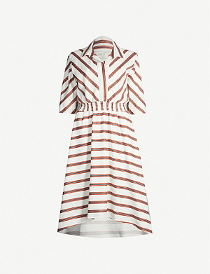 MAJE Romala striped short-sleeved woven dress