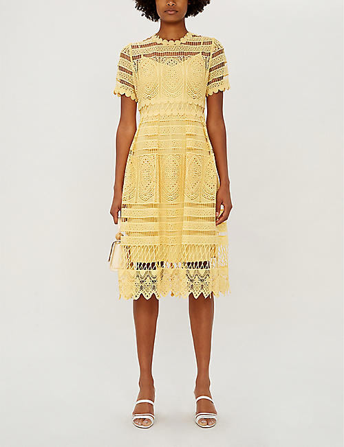 021c21c45a MAJE Roseray fitted guipure-lace midi dress