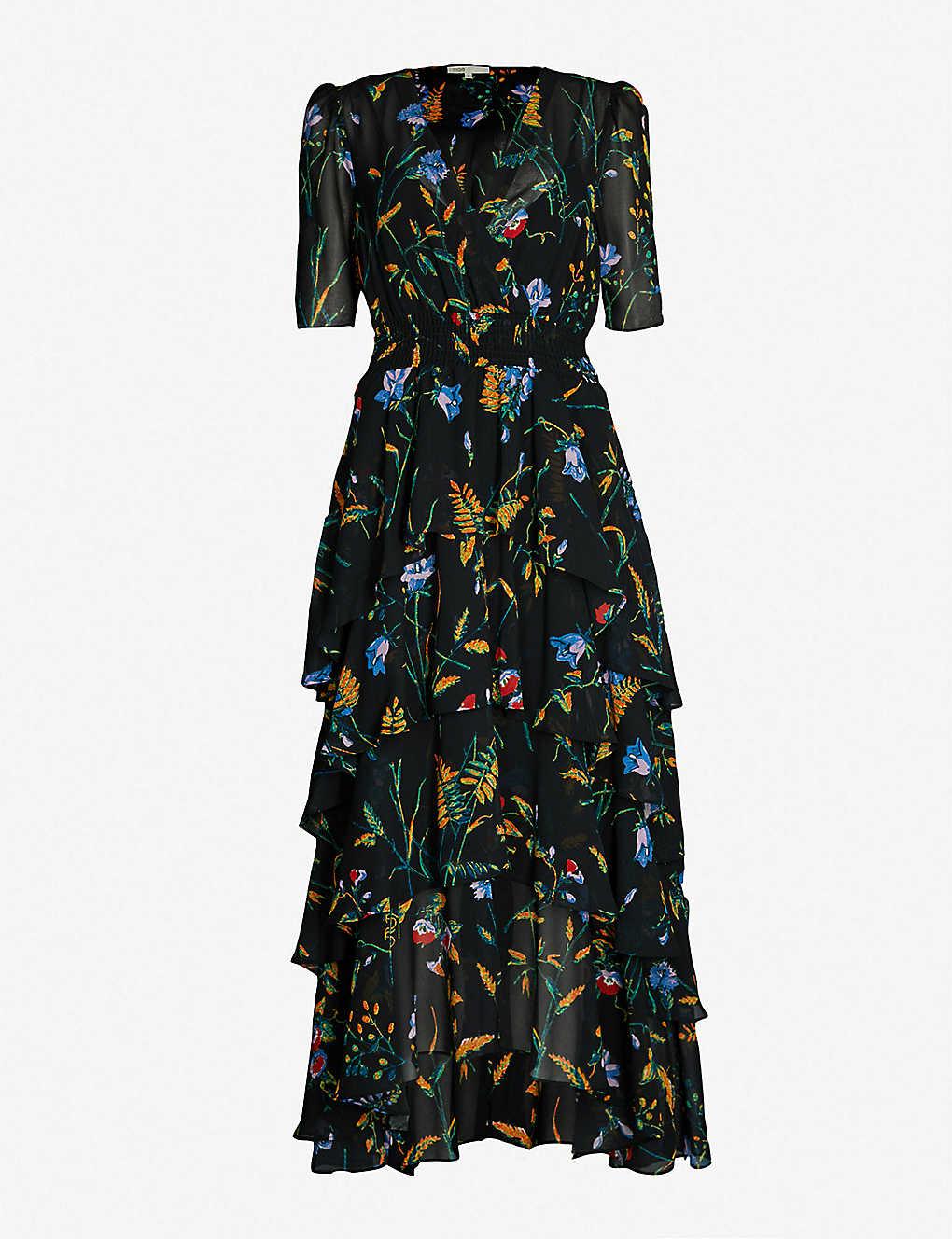 5d79e6857dd4 MAJE - Floral-print ruffled crepe maxi dress   Selfridges.com