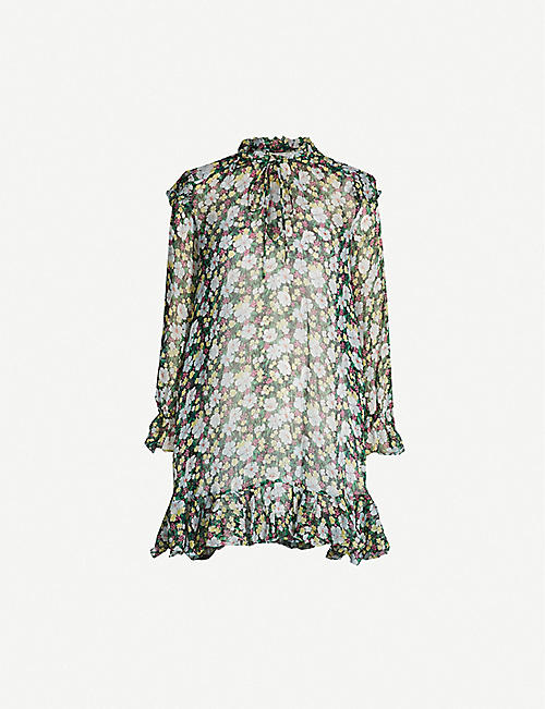 MAJE Rullina floral-print silk-blend dress