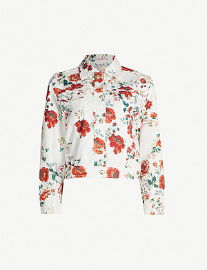 MAJE Floral-print slim-fit stretch-denim jacket