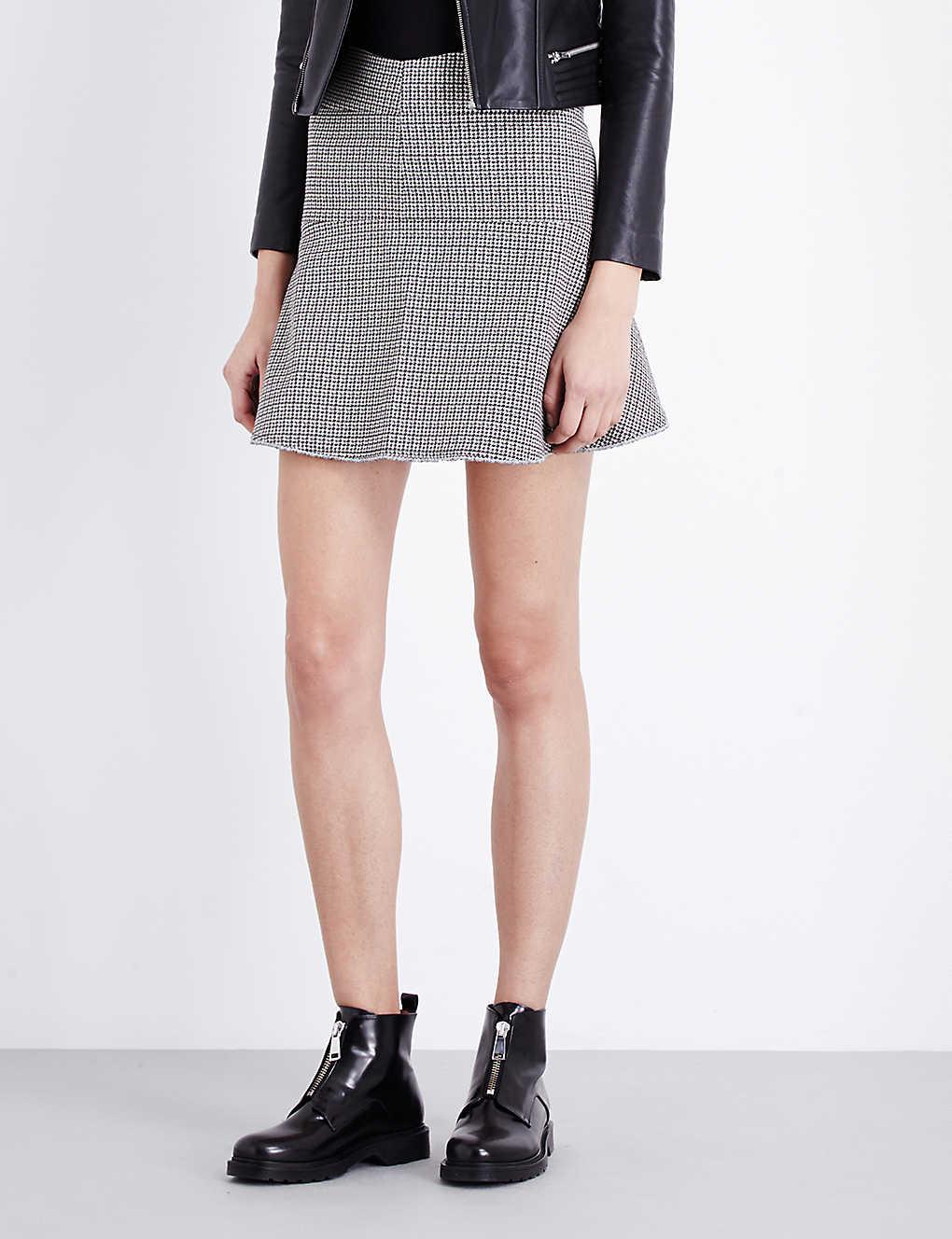 5351bb524d MAJE - Frayed hem houndstooth print skirt   Selfridges.com