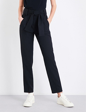 MAJE Paris tapered high-rise twill trousers