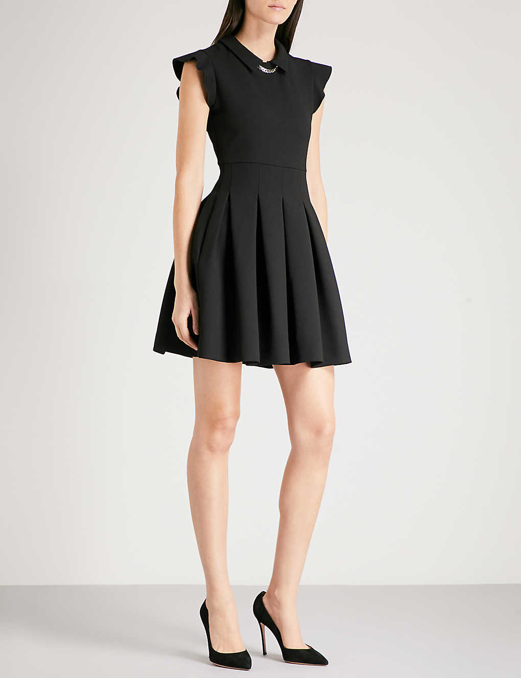 456c40edde8d MAJE - Rousta chain-trimmed pleated crepe mini dress | Selfridges.com