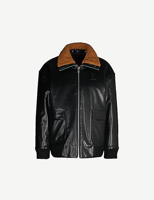 MAJE Batou faux fur-trimmed leather jacket 1b85b546c3d5b