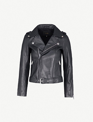 MAJE Celix lambskin leather biker jacket