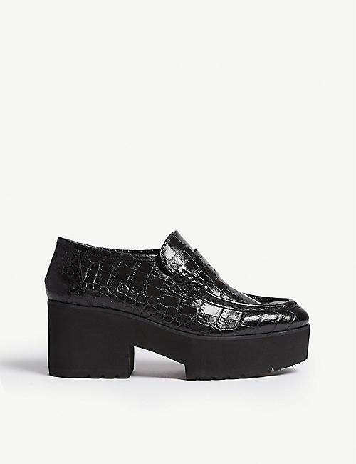 3586ff0fee3 MAJE - Crocodile-effect leather platform moccasin loafer ...