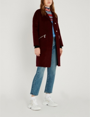Maje Grimala double-faced wool and cotton-blend coat