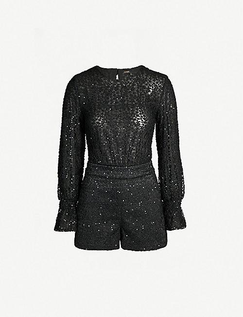 401bf5592b6 MAJE Cutout-back sequin-embellished lace playsuit