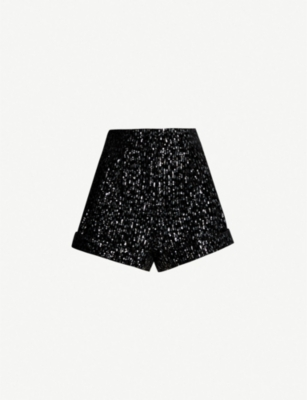 MAJE High-rise sequin-embellished velvet shorts