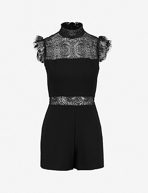MAJE Izona lace-panelled crepe playsuit