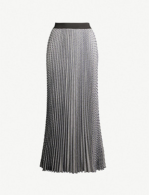 MAJE Jazia houndstooth pleated skirt