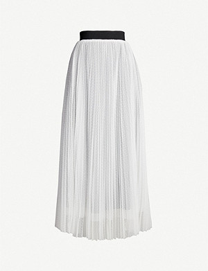 MAJE Dot-embroidered mesh skirt