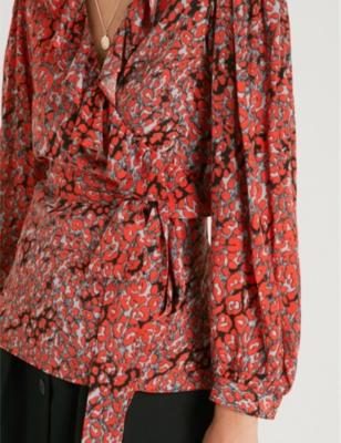 37a7fa1a1f2b7 Shop Maje Wrap-Front Leopard-Print Woven Top In Imprime