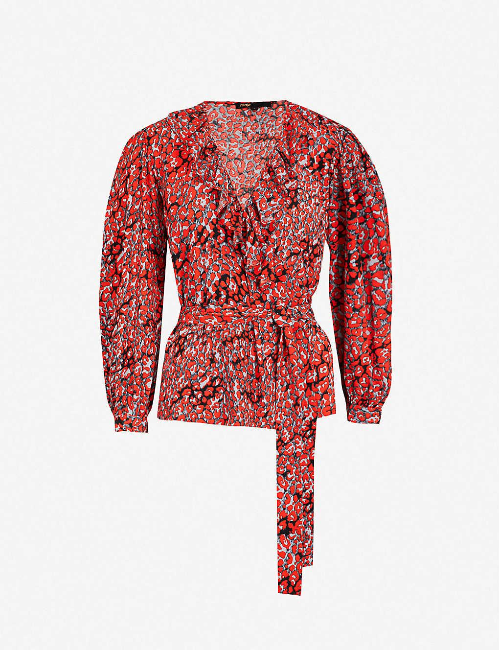 2e0ed02b6b932 MAJE - Wrap-front leopard-print woven top